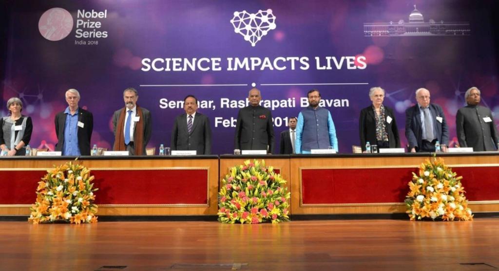 राष्ट्रपति ने नोबेल पुरस्कार विजेताओं से देश में शोध कार्यों को बढ़ावा देने वाले वैज्ञानिक संस्थानों के विकास के लिए भारतीय वैज्ञानिकों और नीति-निर्माताओं को परामर्श देने का आग्रह किया है