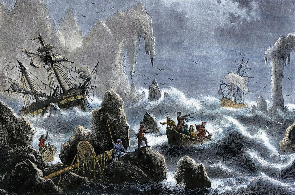 Volatile seas and hostile weather separated Bering's two ships on the Great Northern Expedition as imagined in this unidentified painting (Credit: Wikimedia  Commons)