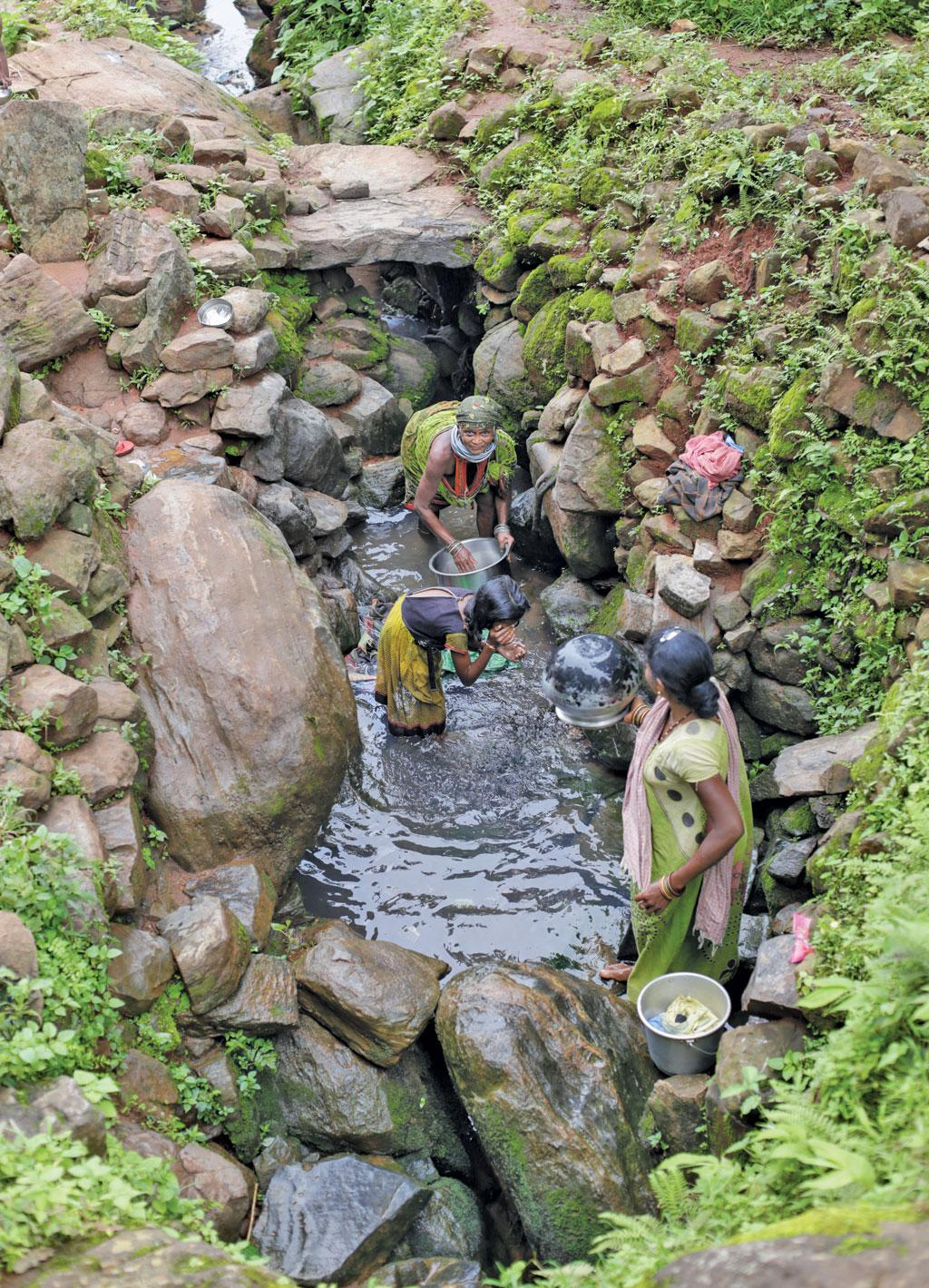 A stream in Mudlipada village: Most households do not have the facility of piped drinking water or handpumps. So Bonda women have to sometimes walk for many kilometres to fetch water