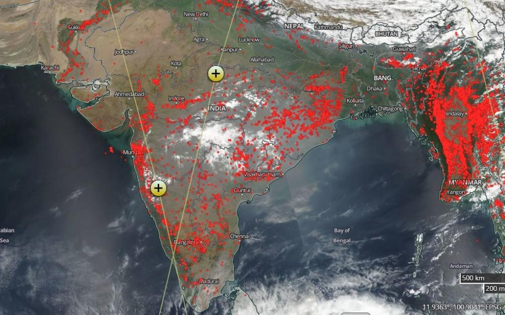 The satellite image released a month later on March 11, 2018 shows a massive increase in the number of fires. Credit: NASA