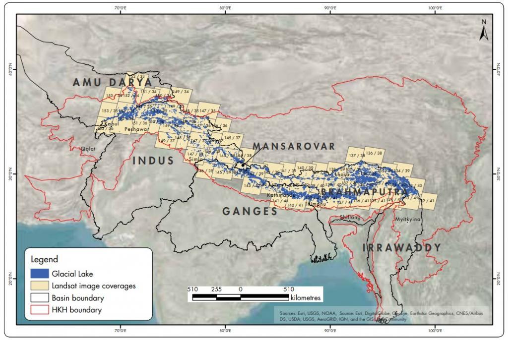 Study area in the Hindu Kush Himalaya showing major river basins