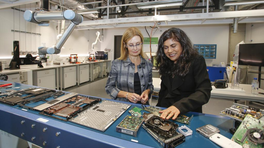 NSW Environment Minister Gabrielle Upton and Professor Veena Sahajwalla at the microfactory. Credit: Quentin Jones