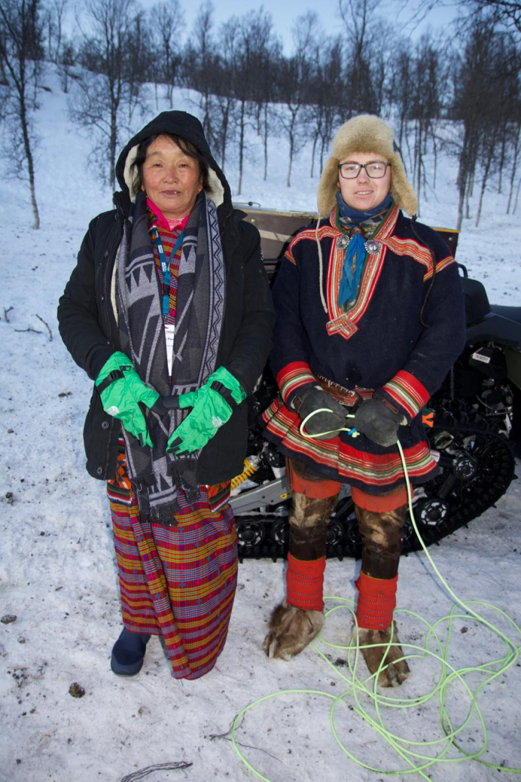 Yuden Pem, a yak herder from Bhutan, and Mikal Juhan Ailo Utsi, a reindeer herder from Norway. Credit: ICIMOD