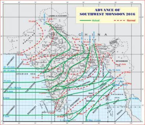 An unjustified progress of the monsoon