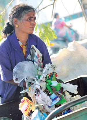Ragpickers play an important  role in collection and segregation of waste and have been formally employed by the Pune Municipal Corporation (Photo: Arnab Pratim Dutta)