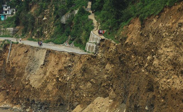 A bird's eye view of area around Govindghat in Uttarakhand. The army is working on laying a cable bridge