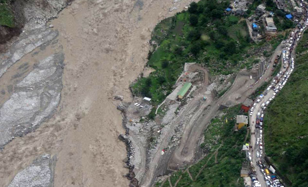Portion of the road at Govindghat has been washed away