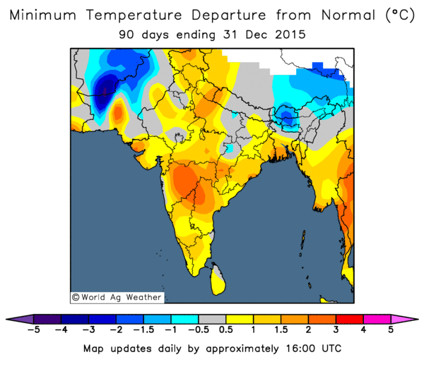 October to December minimum temperature departures from normal (Image credit: World Ag Weather)