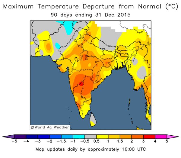 October to December maximum temperature departure from normal (Image Credit: World Ag Weather)
