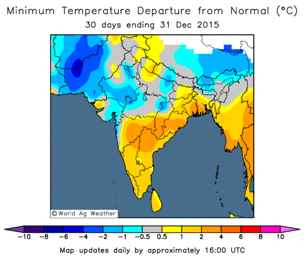 December minimum temperature departure from normal (Image credit: World Ag Weather)