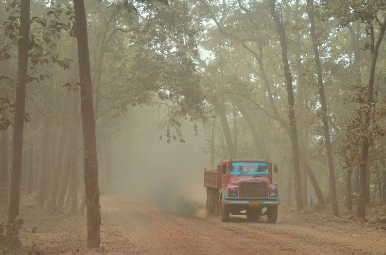 The only road to Saraikuda, a village in the Khandadhar mountain, has been taken over for mining