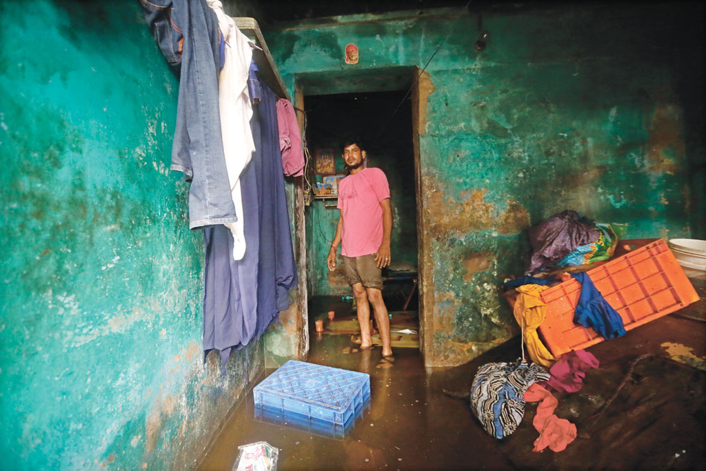 Flood water inside a residence at Aadyar in Chennai on December 9, 2015