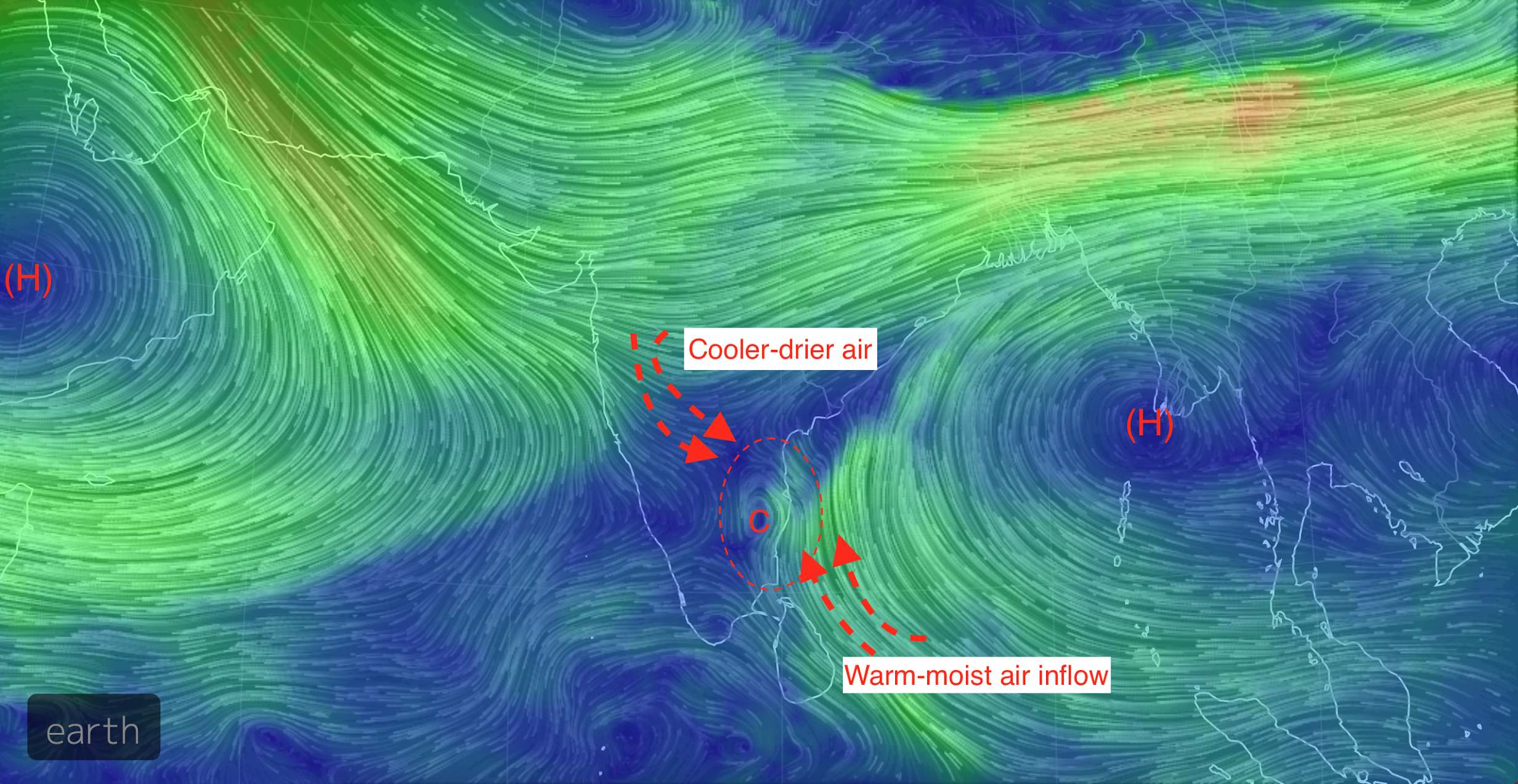GFS model map of winds at 20,000 feet above ground simulating the situation on December 1, 2015 (Courtesy: earth.nullschool.net)