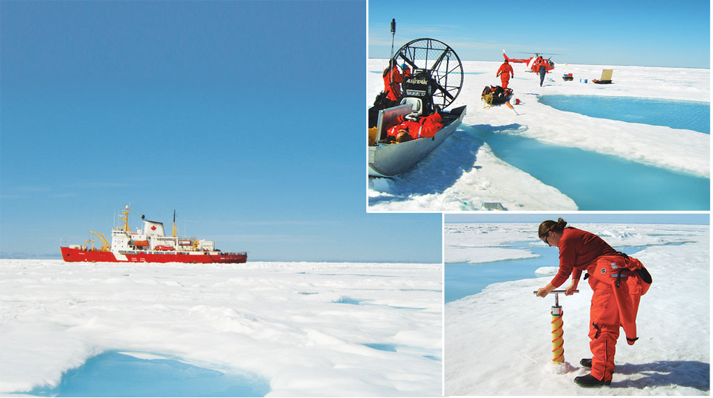 (clockwise from left) The icebreaker as seen from the ice camp; scientists at