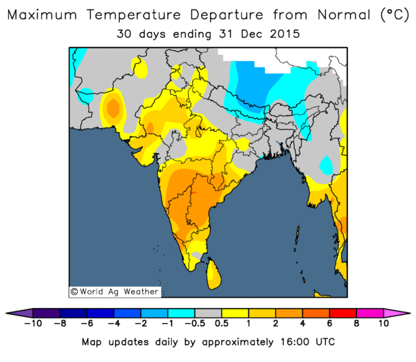 December maximum temperature departure from normal (Image credit: World Ag Weather)