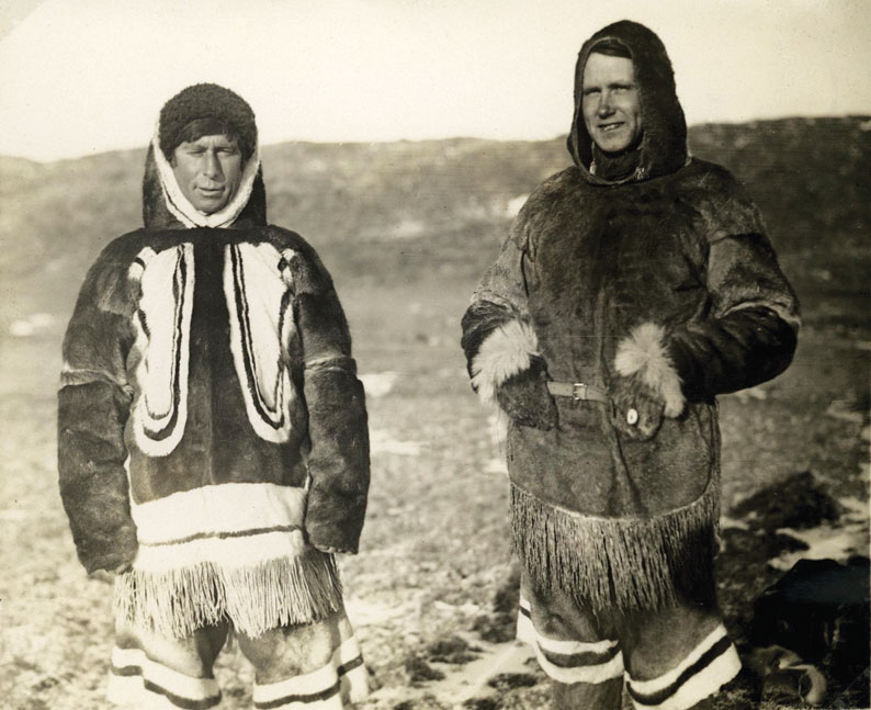 Rasmussen (left) and ethnographer Kaj Birket-Smith wearing Inuit clothing during the 5th Thule Expedition, 1921-24 (Photo: National Museum Of Denmark)