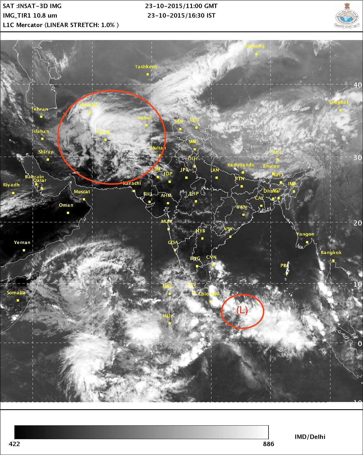 The satellite image taken on  October 23 shows the position of the western disturbance (circled in red) and the low pressure system (denoted by L) in the Bay of Bengal  Credit:  IMD