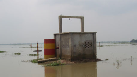 A pump house for supplying irrigation water in Barind during monsoon. The water is sourced from deep tube wells