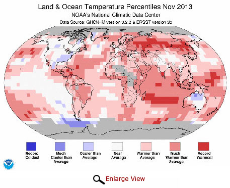 2013 brings warmest November on record