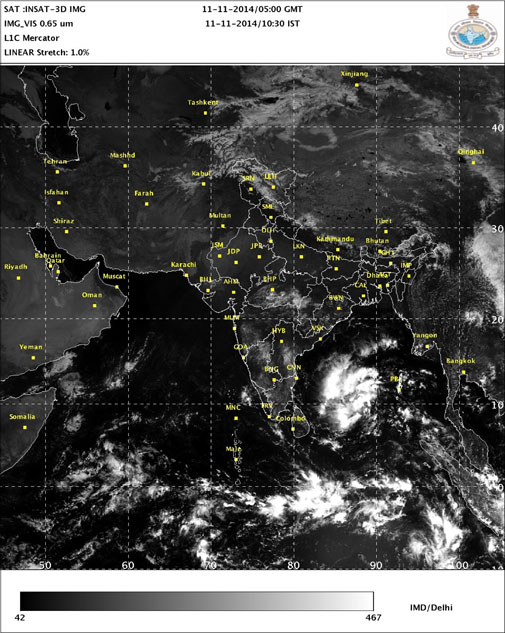 Low pressure system near Andaman and Nicobar Islands on the morning of November 11 (Courtesy IMD)