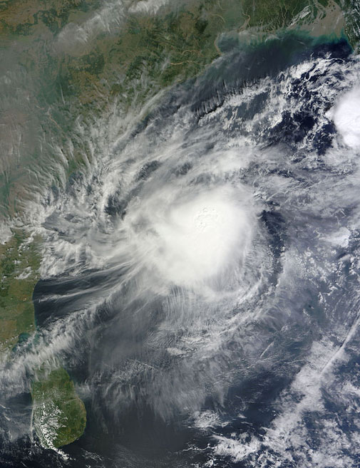 Tropical Storm 05B as seen on November 6 (Courtesy Terra/MODIS)