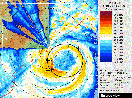 Doppler Weather Radar shows cyclone Hudhud approaching Visakhapatnam (Courtesy IMD)