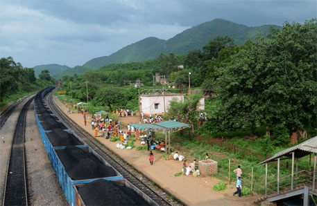 Niyamgiri ranges seen from Bissamcuttack railway station in Rayagada district, Odisha. The forest dwellers crowd the station in the morning to sell pineapples, mangoes and jackfruit grown in the forests (photos: Sayantan Bera)