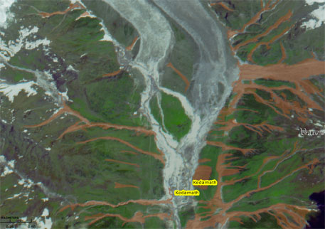 ISRO believes that the disaster in Uttarakhand was aggravated by the large number of landslides in the area between June16 and 17. Though a landslide inventory is still being prepared, preliminary data shows that a total of 745 landslides occurred along the river valleys of Mandakini, Mandani, Kali and Madhyamaheshwar. The debris created by these landslides was carried along with the flood water and added to the destruction.