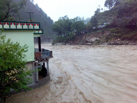 Inundated house in Agastyamuni, a small tourist town in Rudraprayag