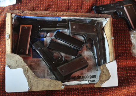 The pistols are delivered to clients using innovative means, because their manufacture is illegal. This consignment was on way in a electric wiring box (photos by Prashant Ravi)