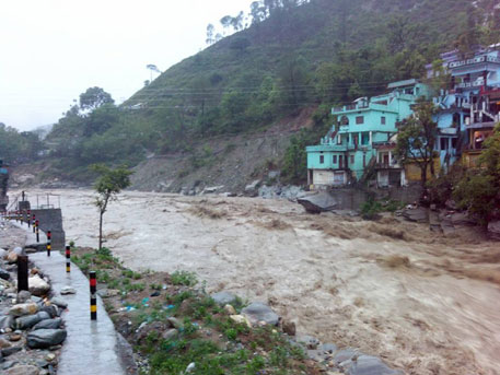 Alaknanda river in spate near Silli in Rudraprayag