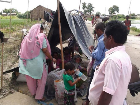Residents shifted out of villages within Kosi embankment denied shelter, food