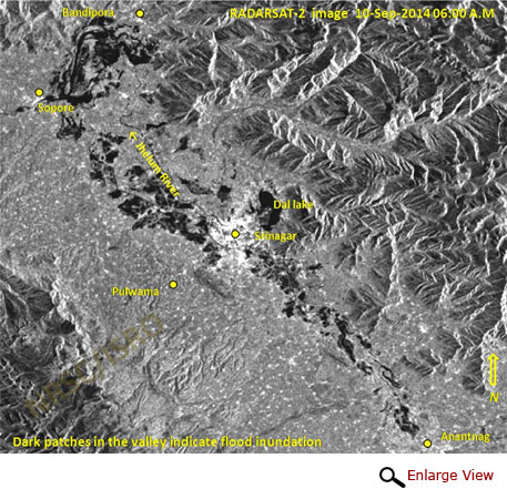 Affected Anantnag, Srinagar, etc areas from RADARSAT-2 image (10-Sep-2014 06:00 A.M)