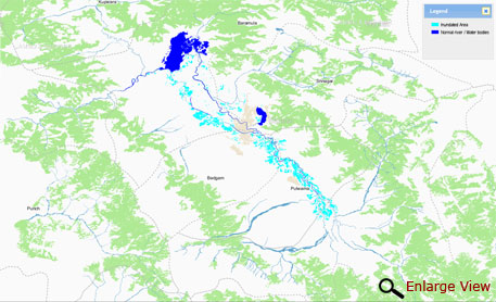 Areas under inundation on September 9