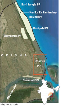 Dhamra port on mangrove land
