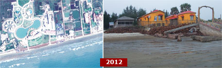Over the past decade the sea has advanced by 2 km taking a toll on many constructions