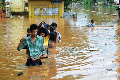 A flooded street in Rajgarh area of Guwahati after heavy rains on September 22