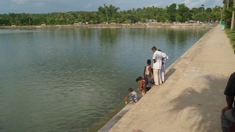 The food thrown into the lake by devotees visiting the temple of Tripura Sundari has made its waters acidic