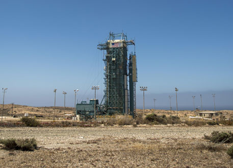 The launch gantry surrounding the United Launch Alliance Delta II rocket with the Orbiting Carbon Observatory-2 (OCO-2) satellite onboard, at Space Launch Complex 2, Vandenberg Air Force Base, California