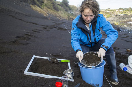 A team member uses a sieve to collect meso- and micro-debris in the Azores (Photo courtesy: Race for Water Foundation)