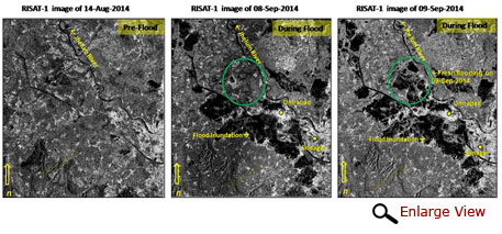 RISAT-1 images showing flood progression at Umrabad near Srinagar