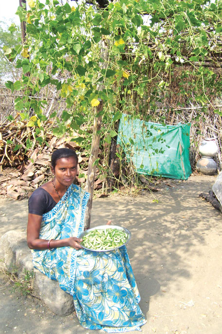 Rama Moon was suffering from severe anaemia but government hospital did not give her iron pills for three years because she was not pregnant. Last year she started eating vegetables regularly and is no longer anaemic (Photo: Aparna Pallavi)