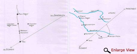 Maps showing main villages between Tara and Premnagar and the principal rivers