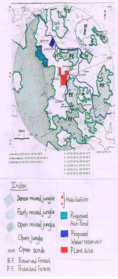 Map showing forests, habitations, plant site; adapted from topographical sheet No 64 J/9 (original map shown below)