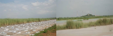 """Ash Pond scenarios near Angul, Orissa, from a NALCO thermal plant; more area is sought by the Plant to make way for the ash and, agriculture in the vicinity is affected as also the health of the people and animals. Plastic sacks filled with ash holding down a sheet covering a river of ash (above); the plant in the distance and the """"ash pond"""" (below)."""