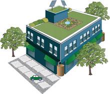 A green facade