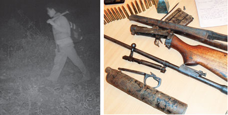 A poacher caught on camera meant for tiger census in Kaziranga in 2012. Since 1970s, poaching techniques have changed from pits to electrocution to guns with silencers made of water pipes