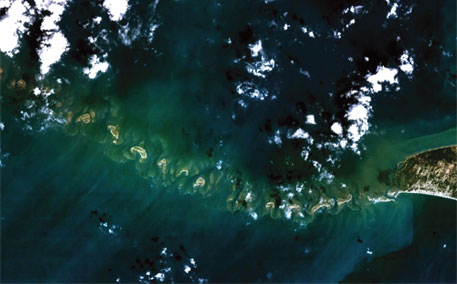 A NASA image of Ram Setu or Adam's Bridge, a chain of limestone shoals