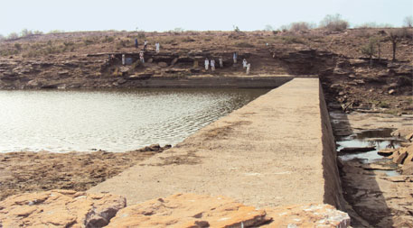 The anicut in Baraki village provides drinking water to cattle from at least six villages in Karauli district