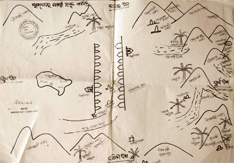 Residents of Lakhpadar village in Niyamgiri hills drew this map in 2010 to claim their rights over forest resources and places of worship. The Odisha government is yet to settle their claim